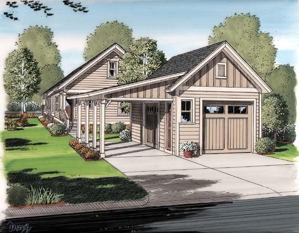 Bungalow Cottage Craftsman Rear Elevation of Plan 30504