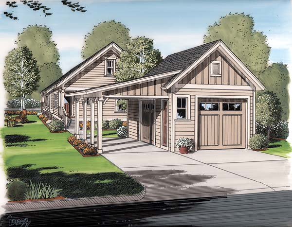 Bungalow Cottage Craftsman Garage Plan 30505 Elevation