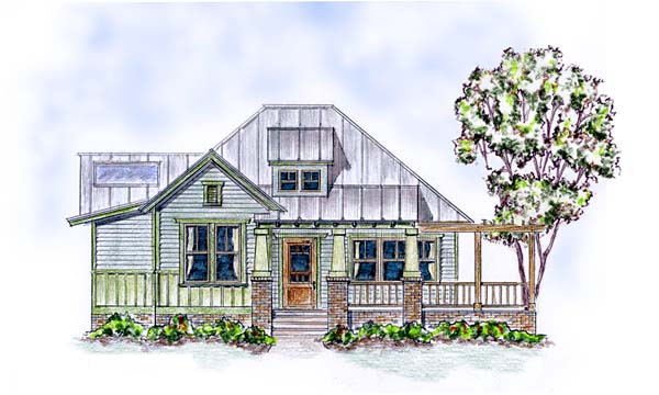 Elevation of Colonial   Cottage   Craftsman   House Plan 30506