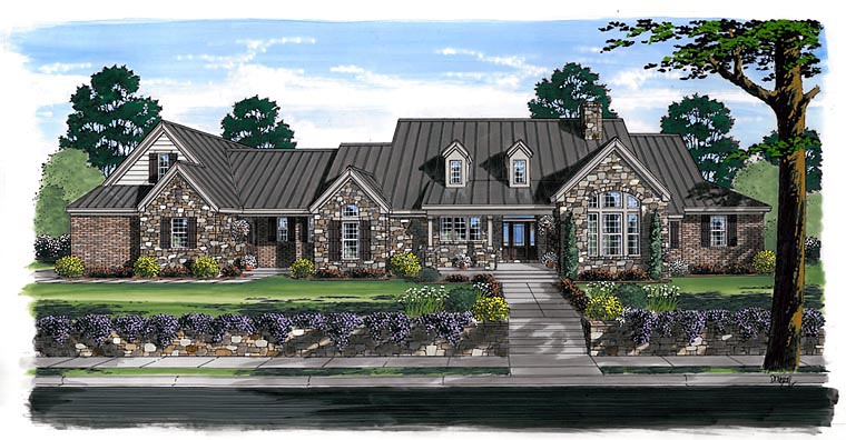 Elevation of Craftsman   European   Farmhouse  Ranch   House Plan 30507