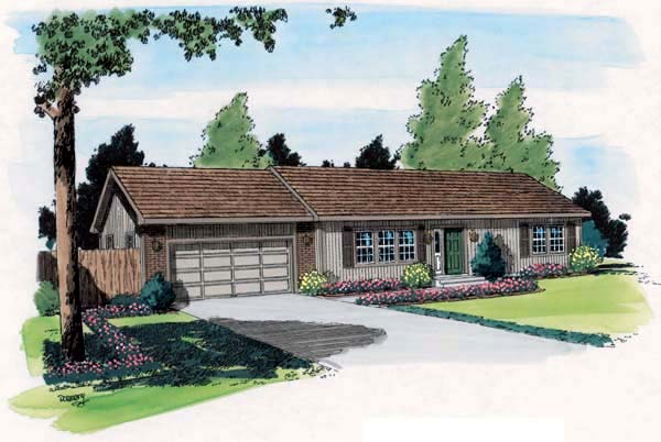 Ranch Traditional House Plan 34002 Elevation