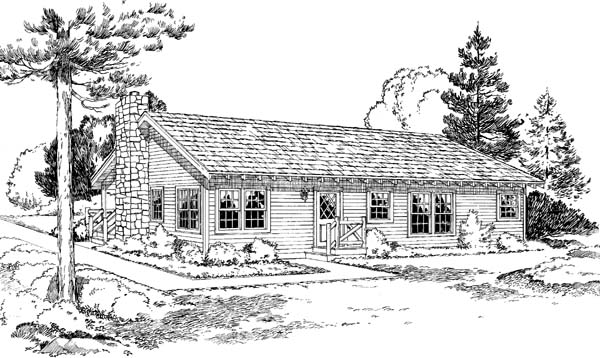 Country Ranch House Plan 34003 Rear Elevation