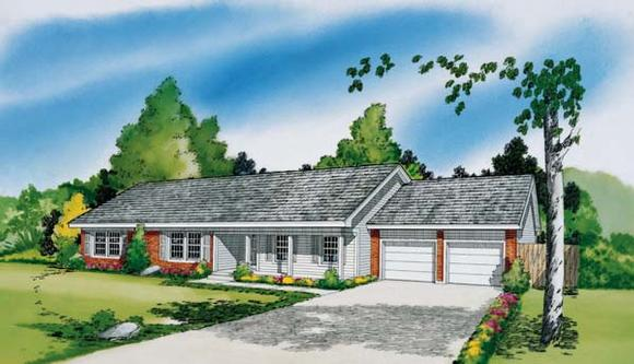 Ranch House Plan 34011 with 3 Beds, 2 Baths, 2 Car Garage Elevation