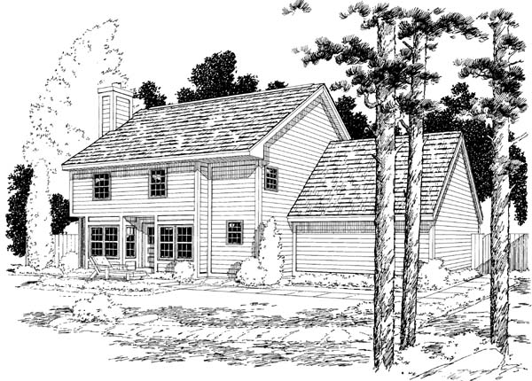 Country Traditional House Plan 34027 Rear Elevation