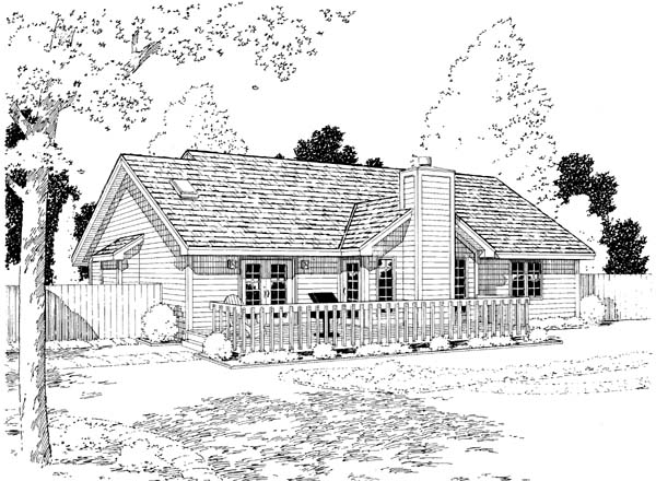 Country European Ranch Traditional Rear Elevation of Plan 34029