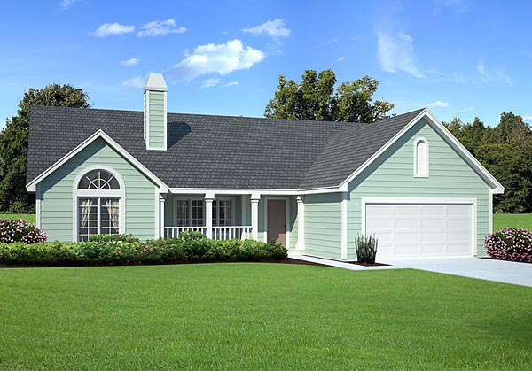 Country, One-Story, Ranch, Traditional House Plan 34031 with 3 Beds, 3 Baths, 2 Car Garage Elevation