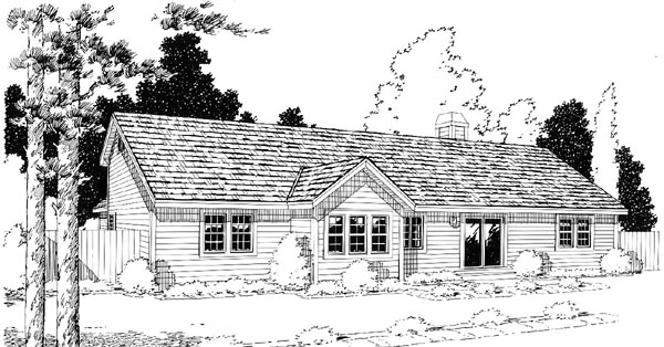 Country, One-Story, Ranch, Traditional House Plan 34031 with 3 Beds, 3 Baths, 2 Car Garage Rear Elevation