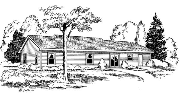 Ranch Traditional House Plan 34055 Rear Elevation