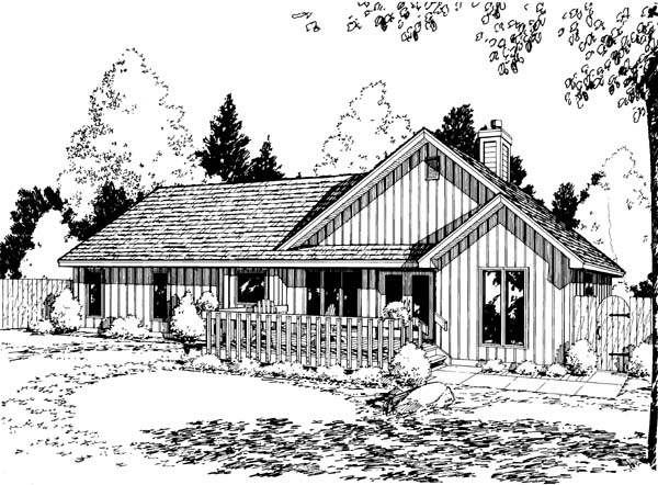 Ranch Traditional House Plan 34150 Rear Elevation