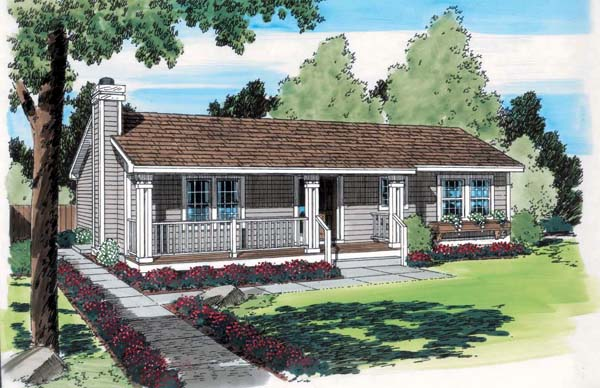 Country Ranch Traditional House Plan 34328 Elevation