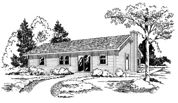 Country Ranch Traditional House Plan 34328 Rear Elevation