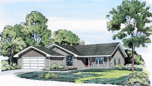 Country Ranch House Plan 34376 Elevation