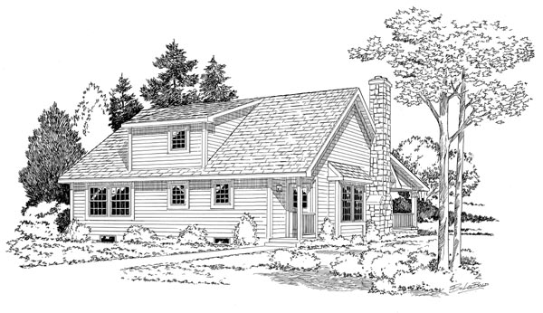 Cape Cod Cottage Country House Plan 34601 Rear Elevation