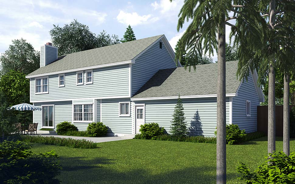 Colonial Saltbox Traditional House Plan 34705 Rear Elevation