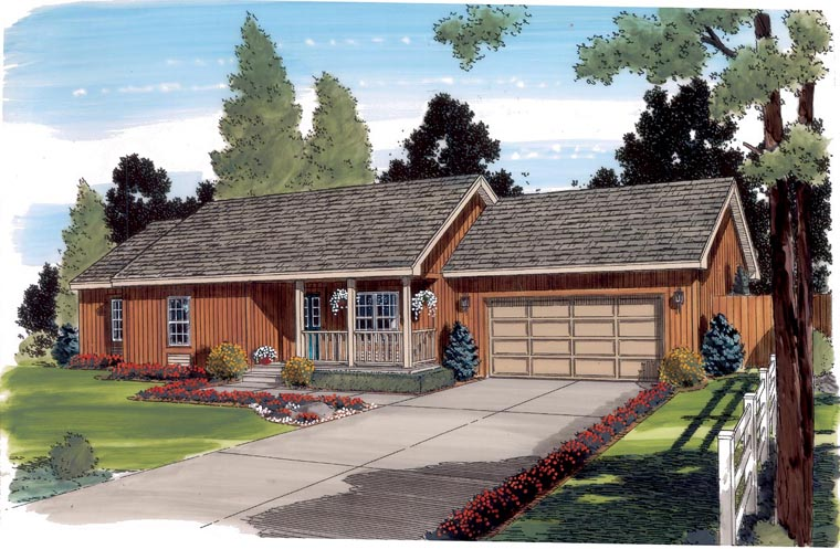 Ranch Traditional House Plan 35000 Elevation
