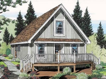 Cabin, Cottage House Plan 35007 with 2 Beds, 1 Baths