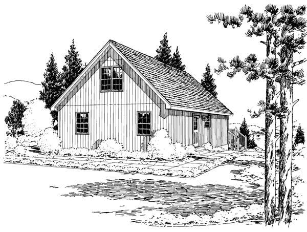 Cabin Cottage House Plan 35007 Rear Elevation