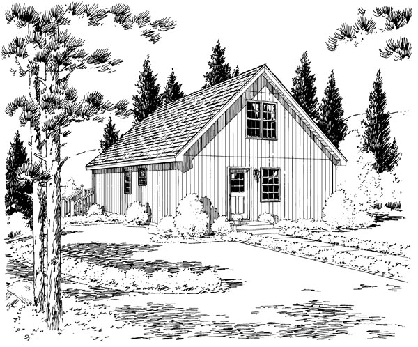 Cabin Contemporary Cottage House Plan 35009 Rear Elevation