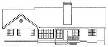 European Ranch House Plan 40000 Rear Elevation