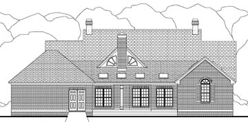 Colonial European House Plan 40001 Rear Elevation