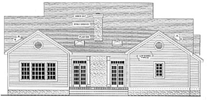 Cape Cod Colonial Country House Plan 40015 Rear Elevation