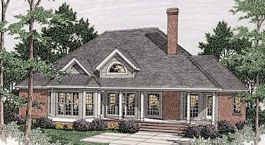Bungalow European House Plan 40017 Rear Elevation