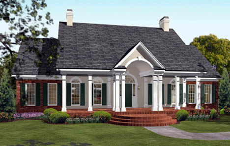 Colonial , European , Southern House Plan 40019 with 3 Beds, 3 Baths, 2 Car Garage Elevation