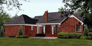 Colonial , European , Southern House Plan 40019 with 3 Beds, 3 Baths, 2 Car Garage Rear Elevation