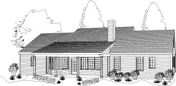 Colonial Ranch House Plan 40022 Rear Elevation