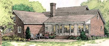Colonial European Southern House Plan 40024 Rear Elevation