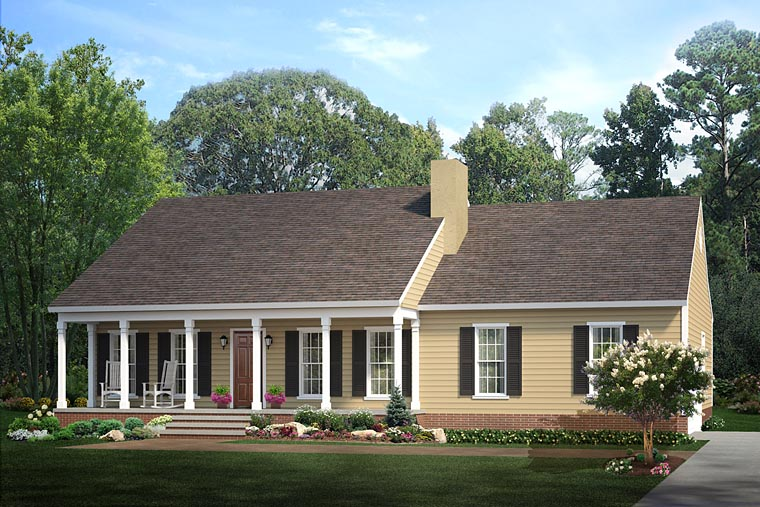Country Ranch House Plan 40026 With 1492 Sq Ft 3 Beds 2