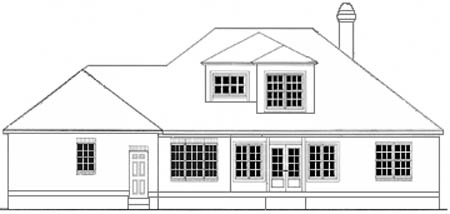 Colonial House Plan 40030 Rear Elevation