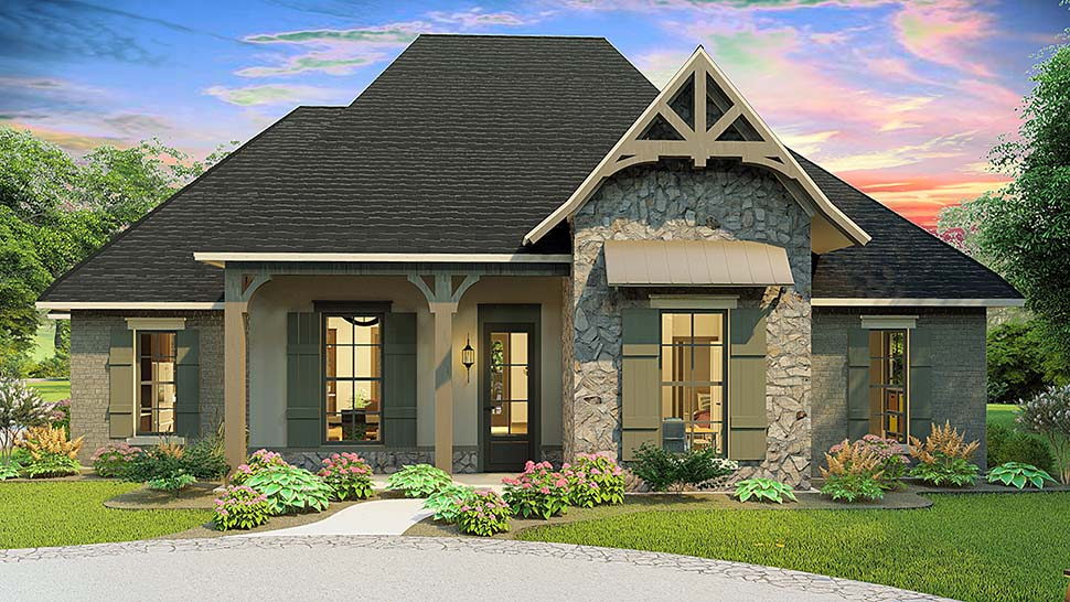 Cottage, Country, Craftsman, Southern, Traditional Plan with 2298 Sq. Ft., 4 Bedrooms, 3 Bathrooms, 2 Car Garage Elevation