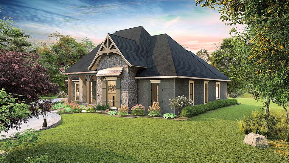 Cottage, Country, Craftsman, Southern, Traditional Plan with 2298 Sq. Ft., 4 Bedrooms, 3 Bathrooms, 2 Car Garage Picture 2