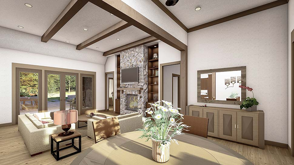 Cottage, Country, Craftsman, Southern, Traditional Plan with 2298 Sq. Ft., 4 Bedrooms, 3 Bathrooms, 2 Car Garage Picture 5