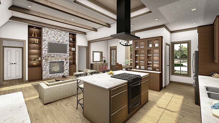 Cottage, Country, Craftsman, Southern, Traditional Plan with 2298 Sq. Ft., 4 Bedrooms, 3 Bathrooms, 2 Car Garage Picture 6