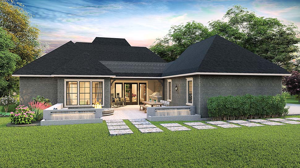 Cottage, Country, Craftsman, Southern, Traditional Plan with 2298 Sq. Ft., 4 Bedrooms, 3 Bathrooms, 2 Car Garage Rear Elevation