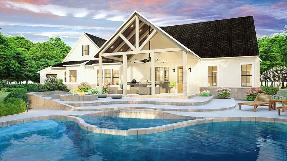 Cottage, Country, Farmhouse, Ranch, Southern, Traditional House Plan 40045 with 3 Beds, 2 Baths, 2 Car Garage Rear Elevation