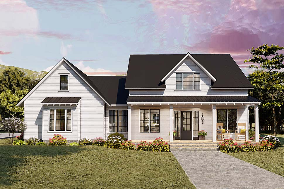 Cottage, Country, Craftsman, Farmhouse, Ranch, Southern, Traditional House Plan 40046 with 4 Beds, 2 Baths, 2 Car Garage Picture 3