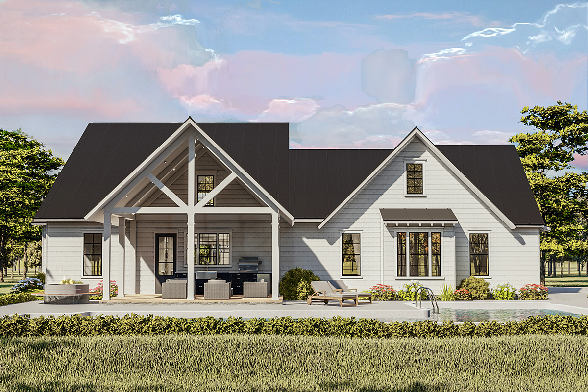 Cottage, Country, Craftsman, Farmhouse, Ranch, Southern, Traditional House Plan 40046 with 4 Beds, 2 Baths, 2 Car Garage Rear Elevation
