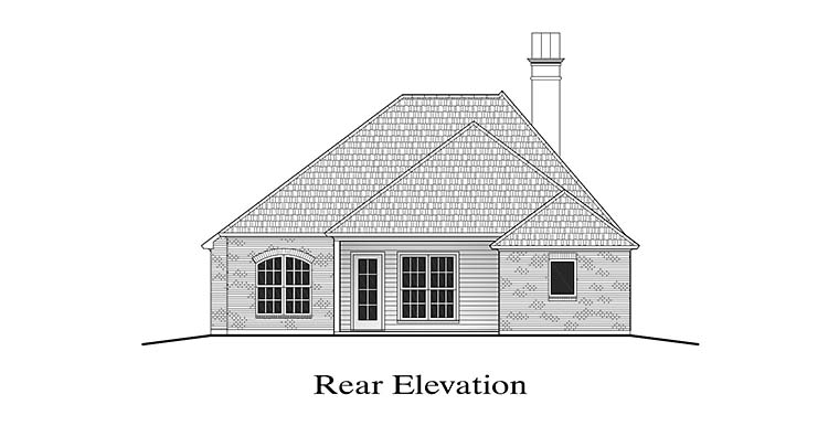 European House Plan 40302 Rear Elevation