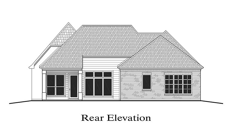 European Southern Traditional House Plan 40305 Rear Elevation