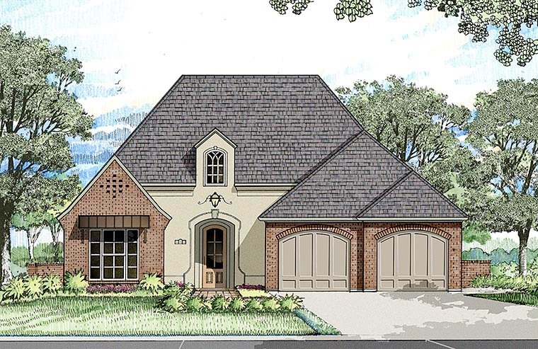 French Country Southern Elevation of Plan 40306