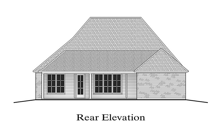 French Country Southern Rear Elevation of Plan 40306
