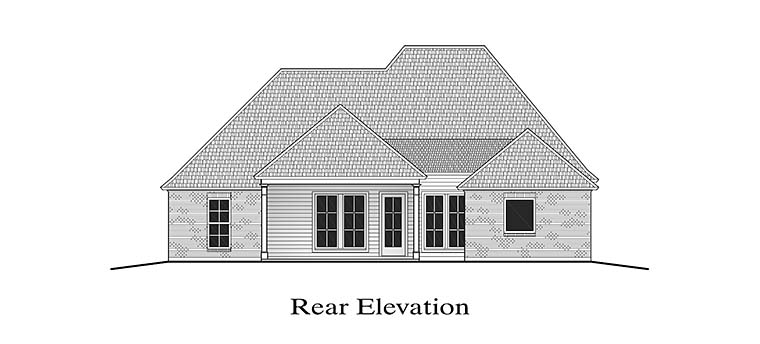 European French Country Southern Rear Elevation of Plan 40308