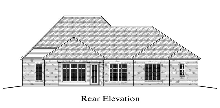 European French Country Southern Rear Elevation of Plan 40309