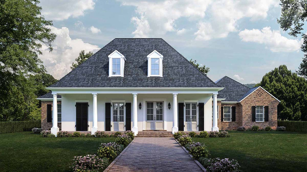 Colonial French Country Southern Elevation of Plan 40311