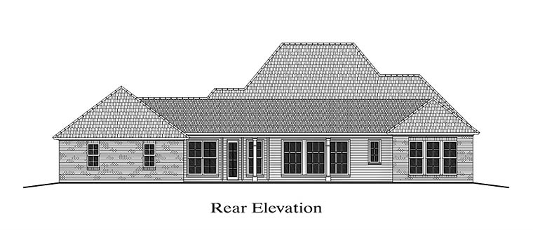 Colonial French Country Southern Rear Elevation of Plan 40311
