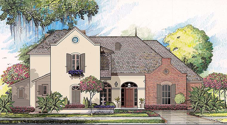European French Country Southern Southwest Elevation of Plan 40313