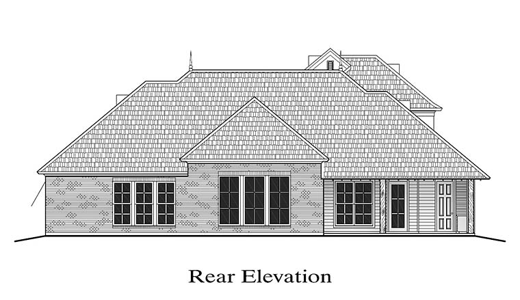 European French Country Southern Southwest Rear Elevation of Plan 40313